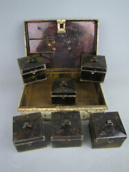 Vintage Kreamer Metal Spice Lock Box 6 Spice Tins And Old Spices Kitchen Rustic