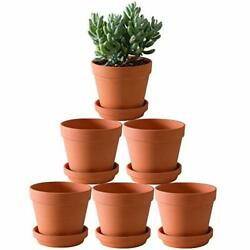 Terra Cotta Pots With Saucer- 6-pack Large Terracotta Pot Clay Pots 5.5'' Clay
