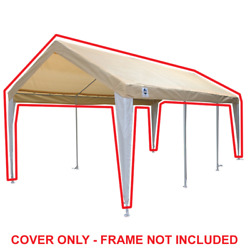 King Canopy 10 Ft X 20 Ft Tan/white Fitted Carport Canopy Cover W/ Leg Skirts