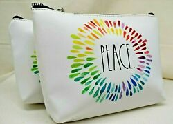 2 RAE DUNN Love Small Clutch amp; Peace Large Clutch Cosmetic Bags Set $18.88