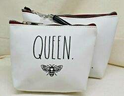 2 RAE DUNN Cosmetic Bags Large Bee Yourself amp; small Queen Bee $28.88