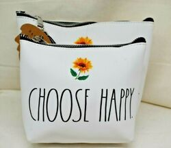 2 RAE DUNN Cosmetic Bags Set 1 Choose Happy amp; 1 Find your Happy $22.88