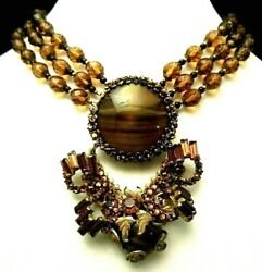 Rare Book Pc Vintage Signed Miriam Haskell Amber Art Glass Rhinestone Necklace