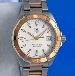 Menand039s Tag Heuer Aquaracer 18k Rose Gold And Ss Watch - Silver Dial - Way1150