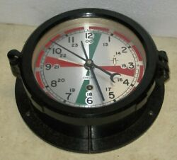 Vintage Chelsea Boston Radio Room Shipand039s Clock Working With Red / Green Dial