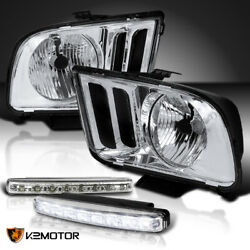 Fit 05-09 Ford Mustang Crystal Chrome Headlights+white 8-led Fog Bumper Lamps