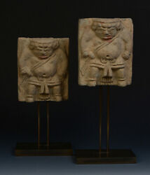 Song Dynasty A Pair Of Antique Chinese Pottery Tomb Guardian Panels