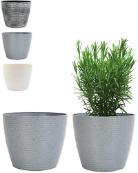 Set Of 2 Outdoor Indoor Garden Plant Pots With Drainage Holes Decorative 8 Inch