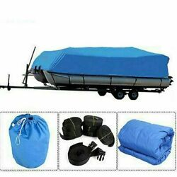 21-24ft 600d Oxford Fabric High Quality Waterproof Boat Cover W/storage Bag Blue