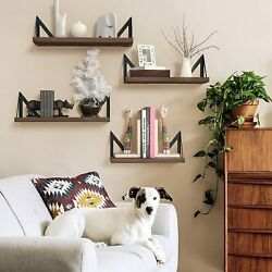 Floating Shelves Wall Mounted Set of 4Rustic Wood Wall for Living Room and More