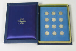 1970s Franklin Mint Treasury Of Zodiac Medals 12 Sterling Silver Mini Coin Set