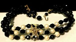 Rare Vintage Early Miriam Haskell Jet Black Glass Rhinestone Choker Necklace A3