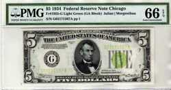 Fr.1955-g 1934 5 Chicago Federal Reserve Note Light Green Seal Pmg 66 Epq