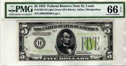 Fr.1955-h 1934 5 St. Louis Federal Reserve Note Light Green Seal Pmg 66 Epq