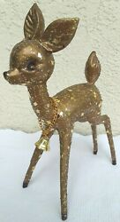Vintage 1950s Large Gold Glitter Plastic Reindeer W/ Bell 5 X 7.5 Guc 1
