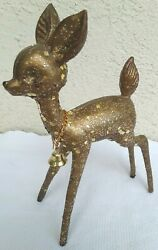 Vintage 1950s Large Gold Glitter Plastic Reindeer W/ Bell 5 X 7.5 Guc 2