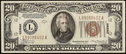 1934 A 20 Dollar Bill Wwii Hawaii Brown Seal Note Currency Old Paper Money