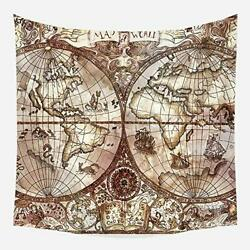 DuftGu Vintage Nautical World Map Tapestry World Map Wall HangingTapestry MapW