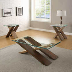 Solid Wood/glass 3-piece Occasional Table Set/coffee And 2 Side Lamp End Tables