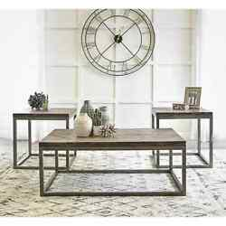 Solid Wood 3-piece Occasional Table Set/coffee And 2 Side Lamp End Tables
