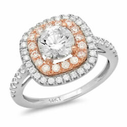 1.75 Ct Round Cut Real Certified Cultured Diamond 14k White Rose Gold Halo Ring