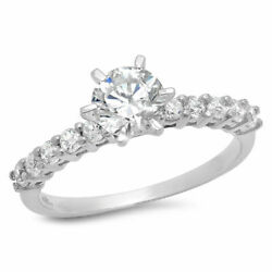 1.05 Ct Round Cut Genuine Certified Cultured Diamond Solid 14k White Gold Ring