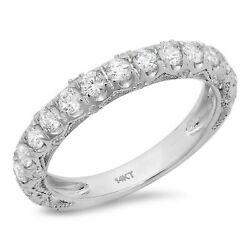 3.13 Ct Round Cut Real Certified Cultured Diamond 18k White Gold Eternity Band
