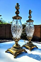 Pair Of 2 Waterford Giftware Large Fine Cut Irish Crystal Table Lamps