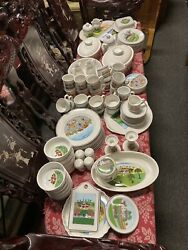 Used 96 Piece Villeroy And Boch Naif German Pottery Set Dishes Dishware + Sides