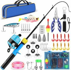 Kids Fishing Pole With Tackle Telescopic Rod Spincast Reel Combo Pliers Gripper