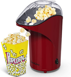 Hot Air Popcorn Maker Upgraded Oil Free Pop Corn Machine With Removable Lid