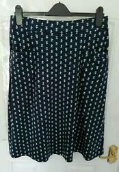 Woolovers Size M Navy Blue Green White Triangle Soft Stretch Skirt Pockets