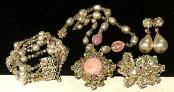 Miriam Haskell Set Rare Vintage Signed Pastel Glass Pearl 4pc Grand Parure A46