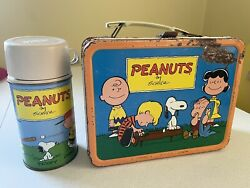 Peanuts Vintage Lunch Boxes Metal With Thermos