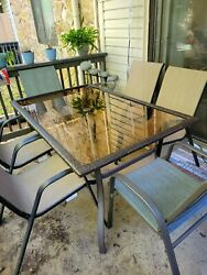Used Outdoor Patio Furniture Set With Canvas Table Cover