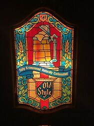 Vintage Heilemans Old Style Beer Lighted Sign Faux Stained Glass Mug