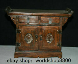 14.8 Antique Old China Huanghuali Wood Dynasty 2 Drawer Cupboard Cabinet Table