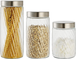 Clear Glass Food Jar, Storage Containers With Stainless Steel Lids...