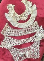 Set Of Five Vintage Lace Collars Victorian Style