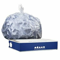 Plasticplace 6 Gallon Trash Bags │ 6 Microns │ Clear Garbage Can High Density...