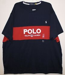 Polo Big Tall Mens Red Blue 1967 S/s Cotton T-shirt Nwt Size 3xb