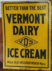 Vermont Dairy Ice Cream Old Orchard Beach Antique Embossed Tin Advertising Sign