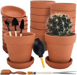 12 Pack Terra Cotta Pots With Saucer - 12pcs 3 Inches Clay Pots With 7pcs Tools