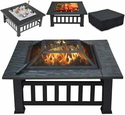 32and039and039 Wood Burning Fire Pits Outdoor Metal Firepit Table Patio Garden Bbq Stove