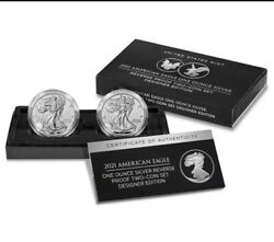 American Eagle 2021 1 Oz Silver Reverse Proof Two Coin Set Designer Edition Lot
