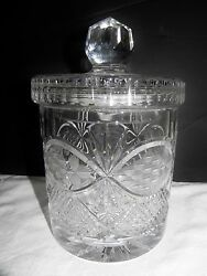 Vintage Lead Crystal Clear Biscuit Cookie Jar Container Chardoney Pattern Poland