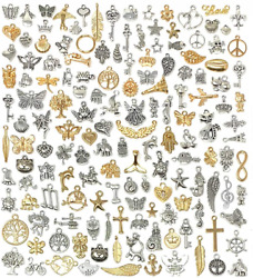 Suneey 150 Pcs Wholesale Bulk Lots Jewelry Making Charms Mixed Antique...