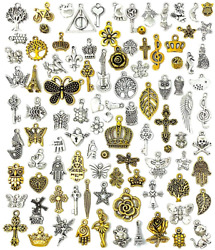 Jialeey 100 Pcs Wholesale Bulk Lots Jewelry Making Charms Mixed Antique...
