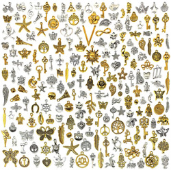 Suneey 200 Pcs Wholesale Bulk Lots Jewelry Making Charms Mixed Antique...