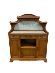 Charming French Art Nouveau Server Buffet Marble Top Walnut 1930and039s 11721
